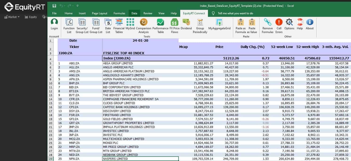 Excel ad-in for financial models EquityRT Connect